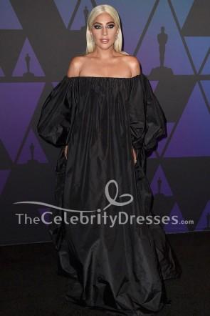 Lady Gaga Black Off-the-Shoulder Evening Dress Formal Gown TCDFD8184
