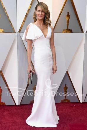 Laura Dern Robe Blanche Formelle 2018 Oscars Tapis Rouge Robe De Soirée