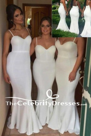 Long Spaghetti Straps Sweetheart Mermaid Bridesmaid Dresses Evening Gown TCDFD7531