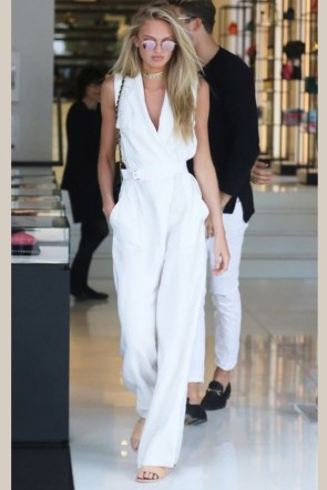 Romee Strijd White Jumpsuit Wide-leg Pants Celebrity Dresses TCDXH8400