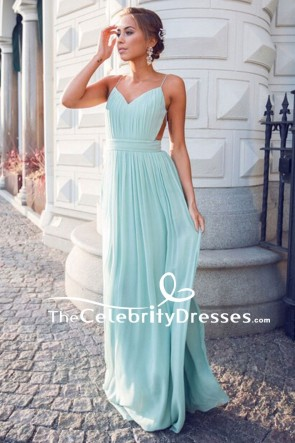 Floor Length Mint Spaghetti Straps Backless Evening Gown Prom Dress TCDFD7834