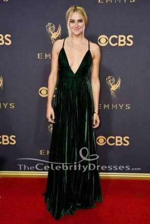 Shailene Woodley Green robe de soirée 2017 Emmy Awards tapis rouge robe