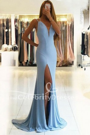 Floor Length Sky Blue High Split Backless Evening Dress Prom Gown TCDFD7756
