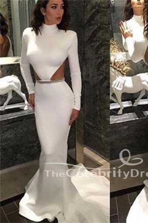 White Long Sleeves Mermaid Cut Out Open Back Beaded Evening Gown Prom Dress TCDFD7517