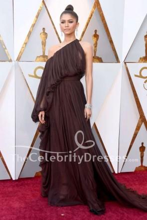 Zendaya 2018 Oscars Chocolate une manche robe de soirée tapis rouge robe