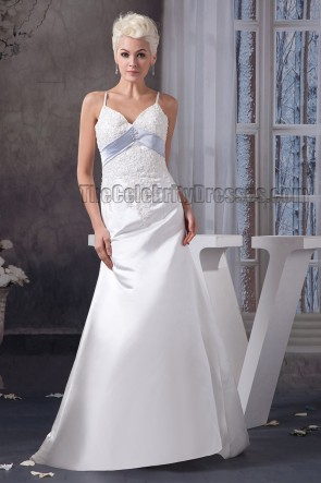 A-Line Embroidered Spaghetti Straps Sweep Brush Train Wedding Dress