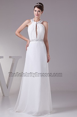 A-Line Halter Beaded Chiffon Bridal Gown Wedding Dress