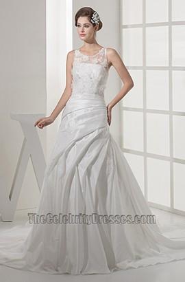 A-Line Scoop Neckline Lace Taffeta Wedding Dresses