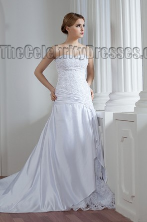 A-Line Strapless Beaded Sweetheart Lace Up Wedding Dresses