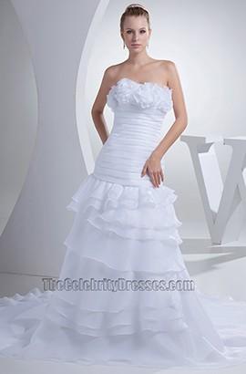 A-Line Strapless Chapel Train Wedding Dress Bridal Gown
