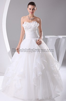 A-Line Strapless Floor Length Organza Wedding Dresses