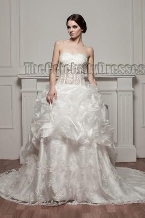 A-Line Strapless Lace Organza Chapel Train Wedding Dresses
