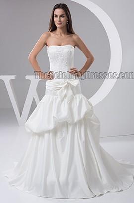 A-Line Strapless Sweetheart Taffeta Sweep/Brush Train Wedding Dress