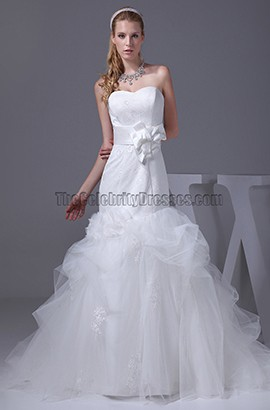 Trumpet / Mermaid Sweetheart Chapel Train Organza Wedding Dress