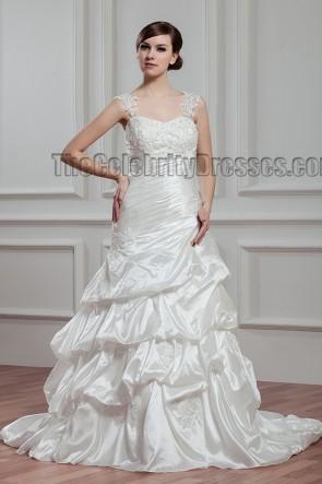 A-Line Sweetheart Embroidered Chapel Train Wedding Dress