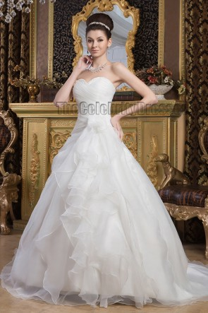 A-Line Sweetheart Strapless Chapel Train Organza Wedding Dresses