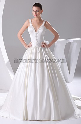 A-Line V-Neck Taffeta Court Train Wedding Dress With Beading