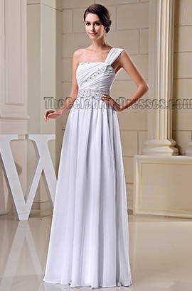 A-Line White One Shoulder Beaded Prom Gown Evening Dresses