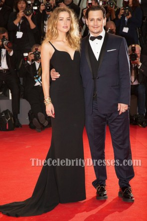 Robe de soirée noire Amber Heard 'Black Mass' Première du festival du film de Venise