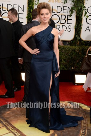 Amber Heard Dark Navy Prom Dress 2014 Golden Globe Awards Red Carpet