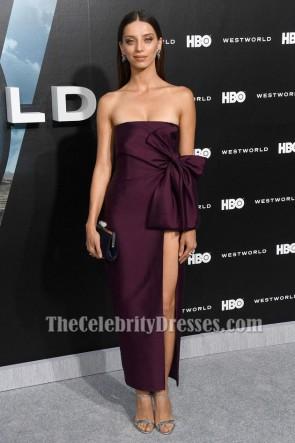 Angela Sarafyan robe de soirée sans bretelles haute fente première de HBO 'Westworld'