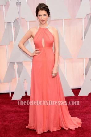 Anna Kendrick 2015 robe rouge formelle de corail tapis des Oscars