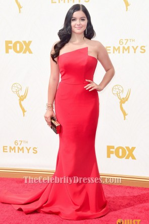 Ariel Hiver Rouge robe sans bretelles formelle 2015 Emmy Awards tapis rouge