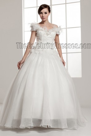 Ball Gown Off-the-shoulder Chapel Train Wedding Dresses
