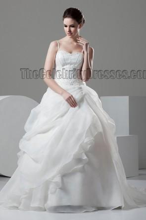 Ball Gown Spaghetti Straps Beaded Chapel Train Wedding Dresses