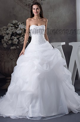 Ball Gown Strapless Embroidered Organza Chapel Train Wedding Dress