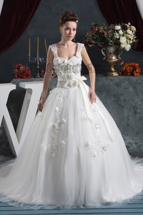 Ball Gown Sweetheart Chapel Train Wedding Dress With 3D Flowers