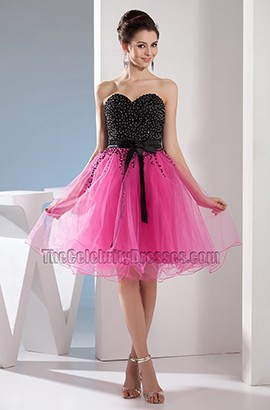 Black And Fuchsia Sweetheart Tulle Party Homecoming Dresses