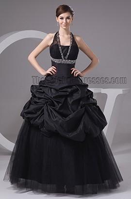 Black Halter A-Line Floor Length Formal Dress Prom Gown