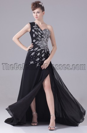 Black One Shoulder Beaded Formal Dress Evening Prom Gown