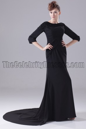 Long Black 3/4 Sleeve Formal Dress Evening Gown