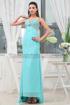Long Blue Chiffon Prom Gown Evening Formal Dresses