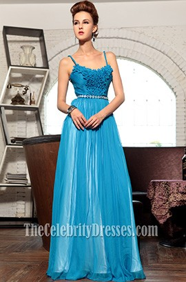 Blue Chiffon Spaghetti Straps Prom Gown Evening Formal Dress