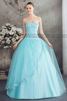 Blue Strapless Ball Gown Beaded Quinceanera Dresses