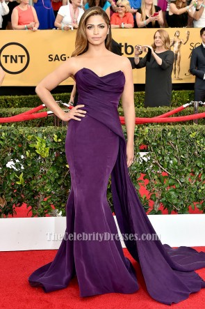 Camila Alves violet robe formelle sans bretelles SAG Awards 2015 tapis rouge