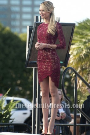 Candice Swanepoel Short Burgundy Lace Party Cocktail Dresses