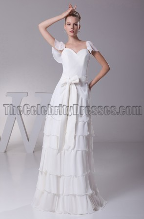 Gorgeous Cap Sleeve Floor Length A-Line Wedding Dress