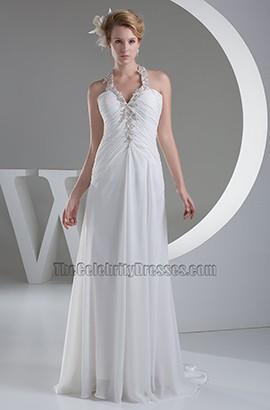 Celebrity Inspired Backless Chiffon A-Line Wedding Dresses