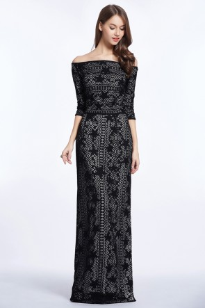 Celebrity Inspired Black Lace Off-the-shoulder Evening Dress TCDBF5003