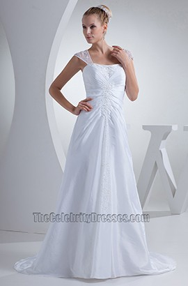 Celebrity Inspired Cap Sleeves Chiffon A-Line Wedding Dress