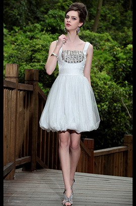 Celebrity Inspired Crystal Tulle Party Homecoming Dress