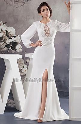 Celebrity Inspired Long Sleeve Chapel Train Wedding Dresses