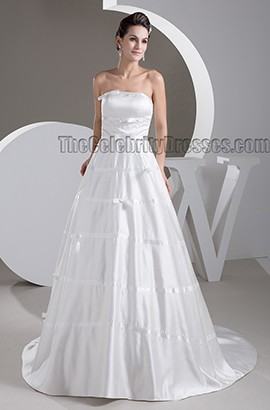 Celebrity Inspired Strapless A-Line Lace Up Wedding Dress