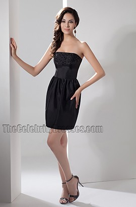 Celebrity Inspired Strapless Short Party Little Black Dresses