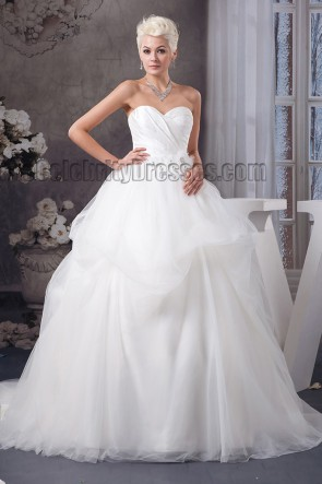Celebrity Inspired Strapless Sweetheart Ball Gown Wedding Dresses