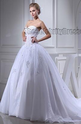Celebrity Inspired Strapless Sweetheart Beaded Wedding Dress